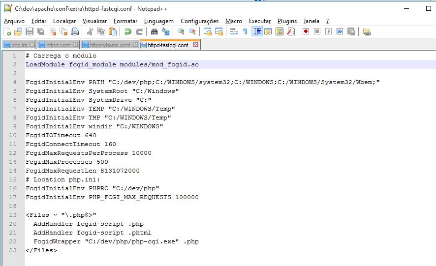 Instalando o Apache: httpd_fastcgi.conf