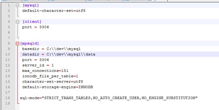 Instalando o MySQL: my.ini
