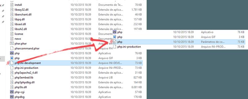 Instalando o PHP: renomenado php.ini